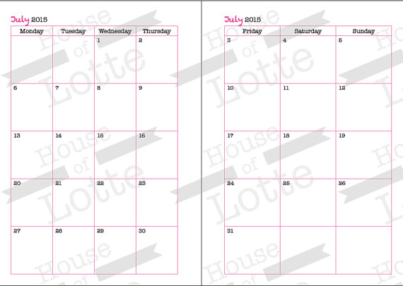 month on tow pages